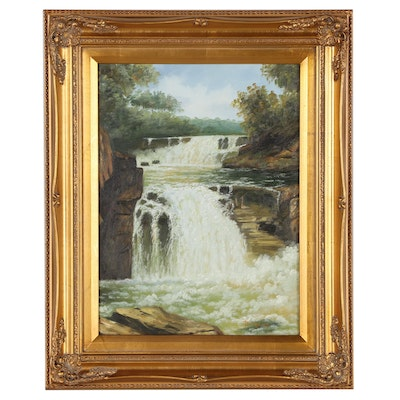 Landscape Oil Painting of Waterfall, 21st Century