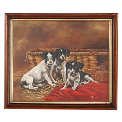 G. Kittell Oil Painting of Terrier Puppies, Mid-20th Century