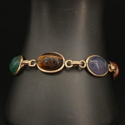 Vintage Scarab Bracelet Including Tiger's Eye, Onyx and Carnelian