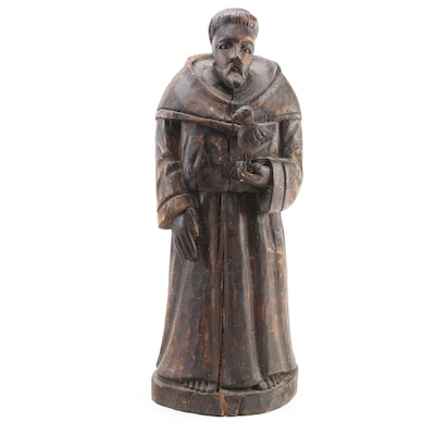 St. Francis of Assisi Hand-Carved Wood Statuette