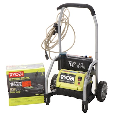 """Ryobi 1700 PSI Electric Pressure Washer with 12"""" Surface Cleaner"""