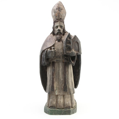 Carved Wood Statuette of Italian Renaissance Style Pope