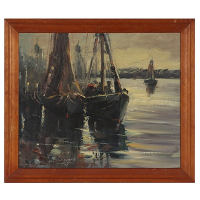 Arthur P. Loysen Gloucester Harbor Scene Oil Painting, 1947
