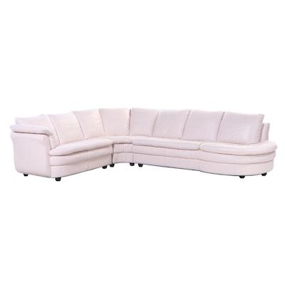 Italian Blush Pink Leather Modular Sofa