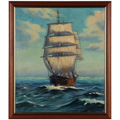 Otis J. Tripp Nautical Oil Painting of Ship at Sea, Mid-20th Century