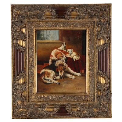 Oil Painting of Four Canines