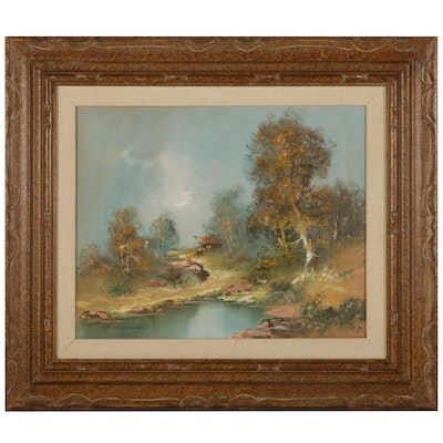 Country Pond With Distant Cabin Oil Painting, Mid-Late 20th Century