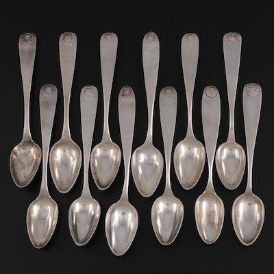 Scandinavian 800 Silver Spoons with Shell Pattern Handles
