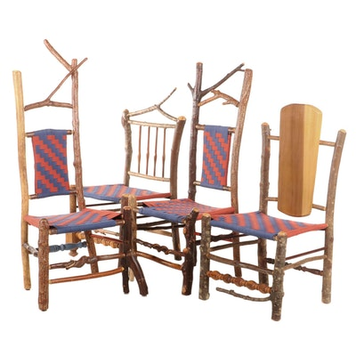 Four Adirondack Style Twig and Spindle Side Chairs