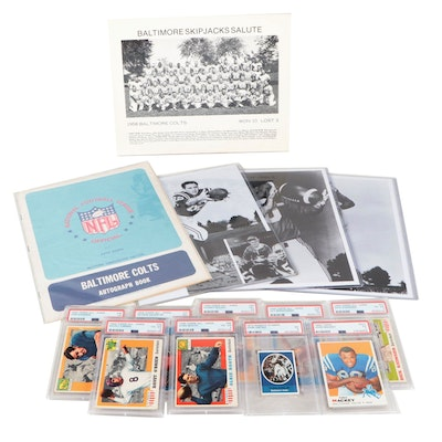 John Unitas, Baltimore Colts and 1955 Topps All American Football Cards