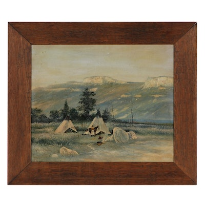 Oil Painting of Native American Camp in Mountain Landscape, Mid-20th Century