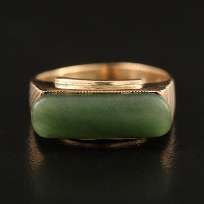 10K Nephrite Bar Ring