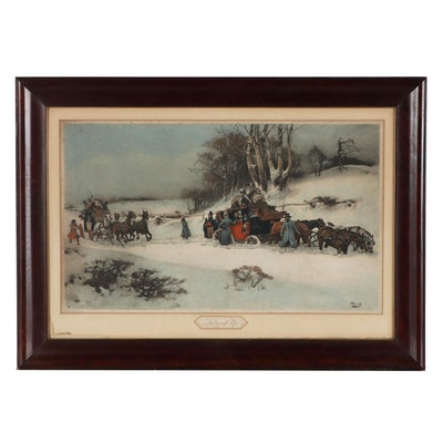 """Collotype After Gilbert Scott Wright """"Snowed Up,"""" Early 20th Century"""