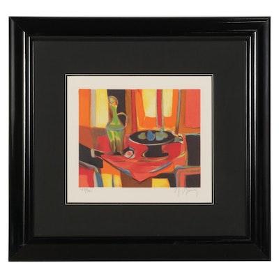 "Marcel Mouly Color Lithograph ""Fruita y Vino"""