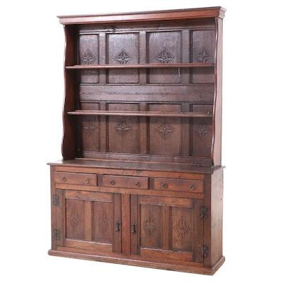 Carved Oak Welsh Cupboard, 18th Century