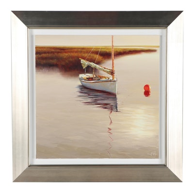 Nautical Oil Painting of Sailboat, 21st Century