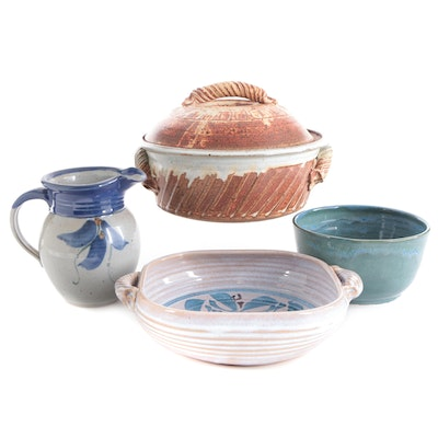 Renee Altman Studio Art Pottery Pitcher with Other Signed Art Pottery Serveware