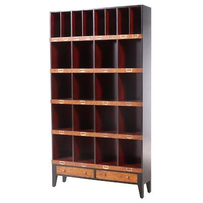 Maison Provence Ebonized & Red-Painted Hardwood Twenty Four-Compartment Bookcase