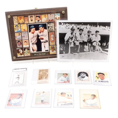 New York Yankee Greats, Lou Gehrig and Babe Ruth Plaque with Reprint Cards