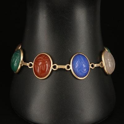 Vintage 14K Carved Scarab Bracelet with Rose Quartz, Tiger's Eye and Agate