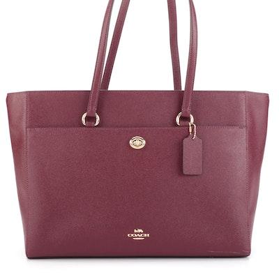 Coach Large Folio Tote Bag in Burgundy Crossgrain Leather