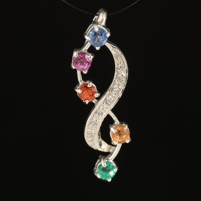 Sterling Infinity Pendant with Sapphire, Tourmaline and Kyanite