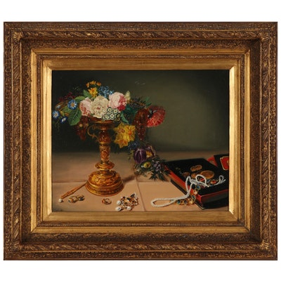 Still Life Oil Painting of Flower Arrangement, Early-Mid 20th Century