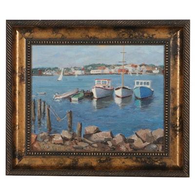 Nautical Oil Painting of Harbor Scene, 21st Century
