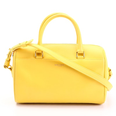 Saint Laurent Classic Baby Duffel Bag in Yellow Leather