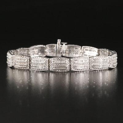 Sterling Silver 4.00 CTW Diamond Panel Bracelet
