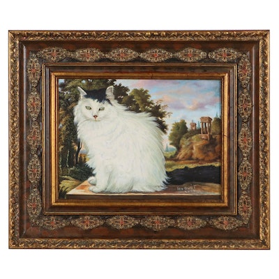 Portrait Gouache Painting of Longhaired Cat, 2007