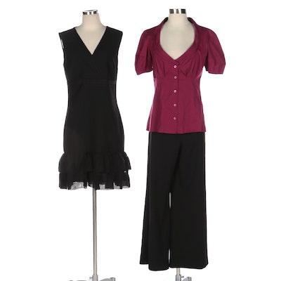 Prada, St. John Caviar, and Diane Von Furstenberg Blouse, Pants, and Dress