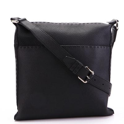Fendi Selleria Flat Messenger Bag in Black Pebble Grain Leather