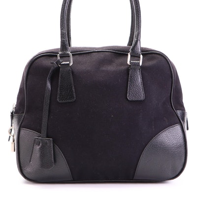 Prada Bowler Bag in Canvas and Cinghiale Leather