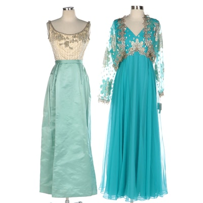 Dan Lee Chiffon Gown with Jacket and Rappi Beaded Satin Gown