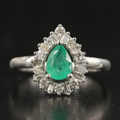 14K Emerald and Diamond Teardrop Ring