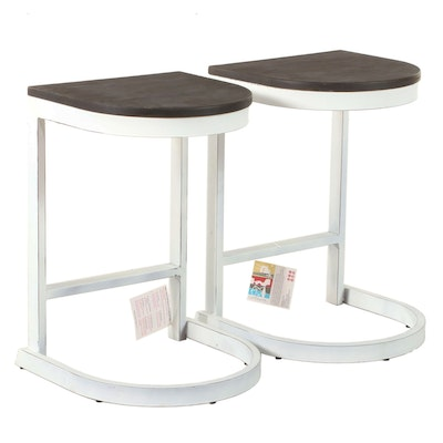 Pair of LumiSource Modernist Style Painted Metal and Wood C-Form Side Tables