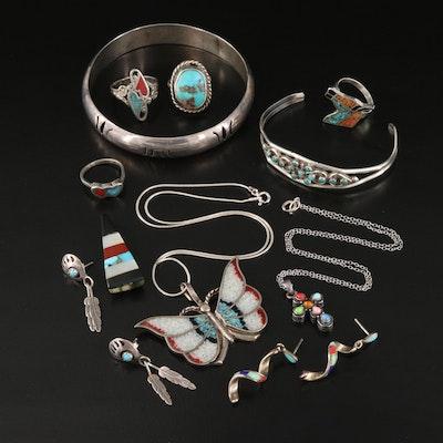 Southwestern Style Sterling Bracelets, Earrings, Rings and Petit Point Cuff