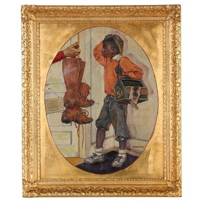 Oil Illustration of Shoeshine Boy, Mid-Late 20th Century