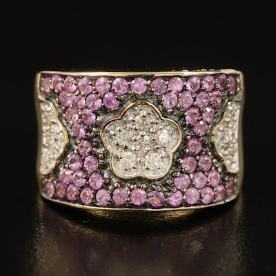 14K Diamond and Sapphire Floral Saddle Ring