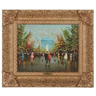 Oil Painting of Parisian Street Scene, Mid-Late 20th Century