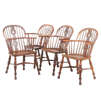 Four Welsh Elm Armchairs with Pierced Splat, Mid-19th Century