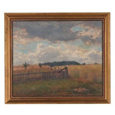 Landscape Oil Painting of Pasture, 1935