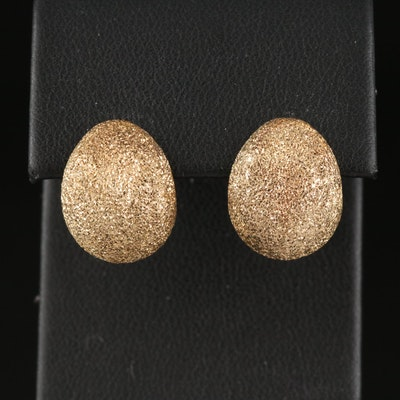 14K Textured Huggie Earrings with Glass Blasted Finish