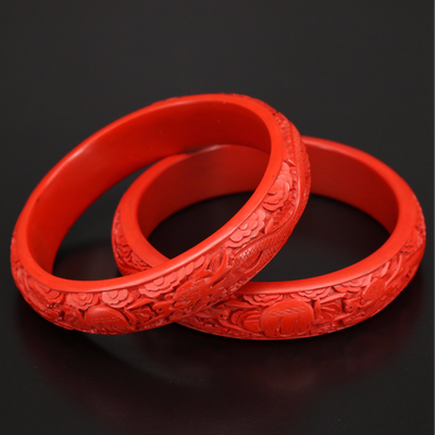 Carved Cinnabar Dragon Bangles