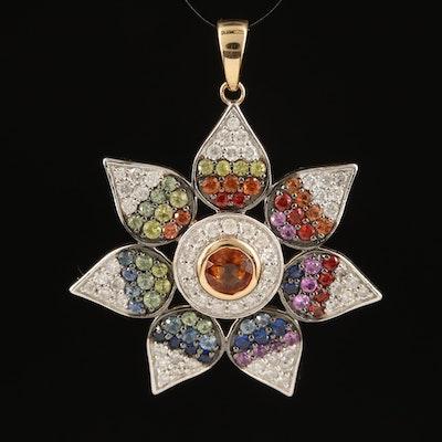 14K Spessartine, Diamond and Sapphire Flower Pendant