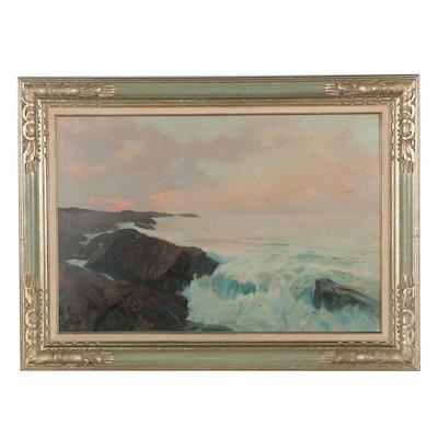 Frank Handlen Seascape Oil Painting, Mid-20th Century