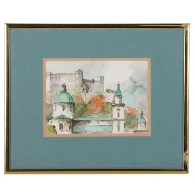 """Austrian Cityscape Watercolor Painting """"Salzburg,"""" 1989"""