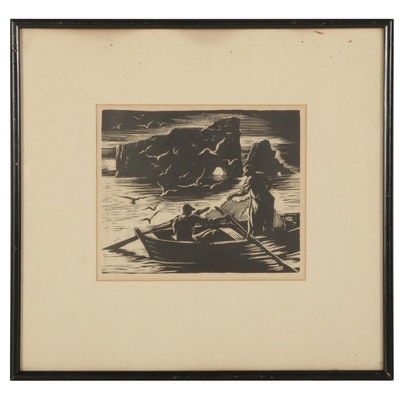 Woodcut of Fishermen in Rowboat, Mid-Late 20th Century