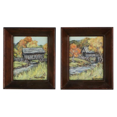 Betty Woody Landscape Oil Paintings of Covered Bridges